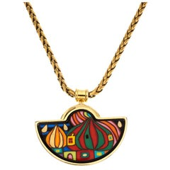 Frey Wille Street Rivers Fire Enamel Gold Plated Half Moon Pendant Necklace