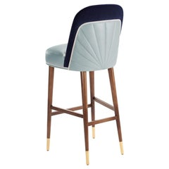 Bar Chair Frida in Solid Wood, Brass and Upholstery New