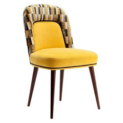 Dining Chair Frida in Solid Wood and Yellow Upholstery New