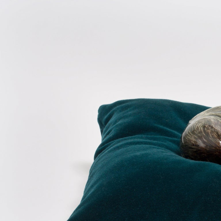 Frida Fjellman, Sleeping Weasel ceramic animal sculpture, created in Sweden 3