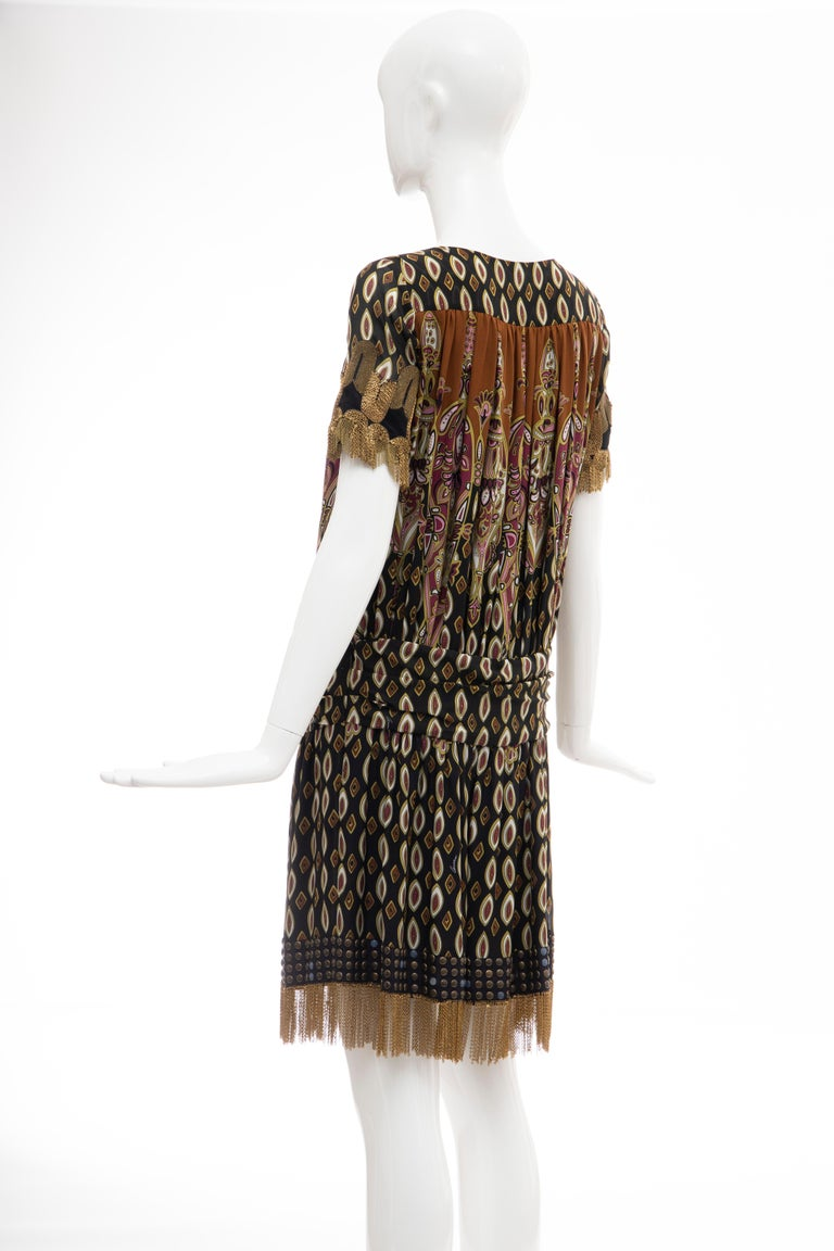 Frida Giannini for Gucci Runway Silk Boteh Pattern Brass Chains Dress, Fall 2008 For Sale 5