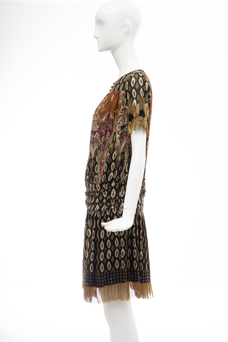 Frida Giannini for Gucci Runway Silk Boteh Pattern Brass Chains Dress, Fall 2008 For Sale 6