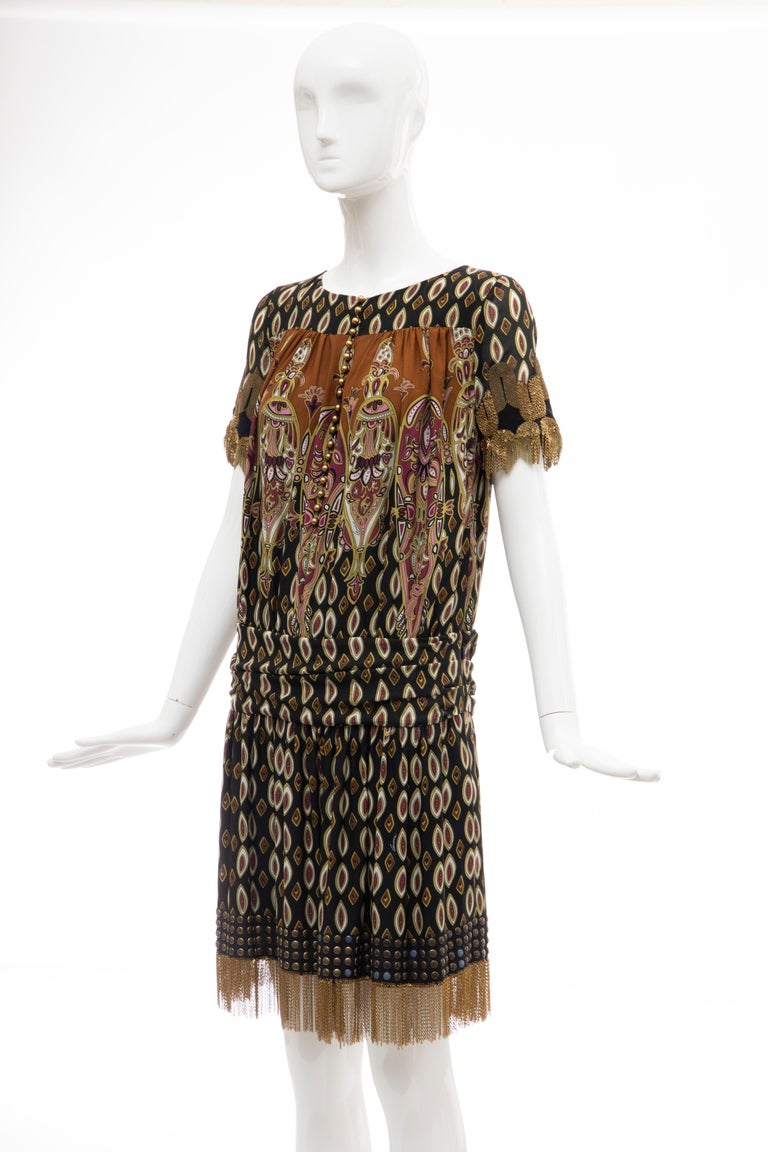Frida Giannini for Gucci Runway Silk Boteh Pattern Brass Chains Dress, Fall 2008 For Sale 7