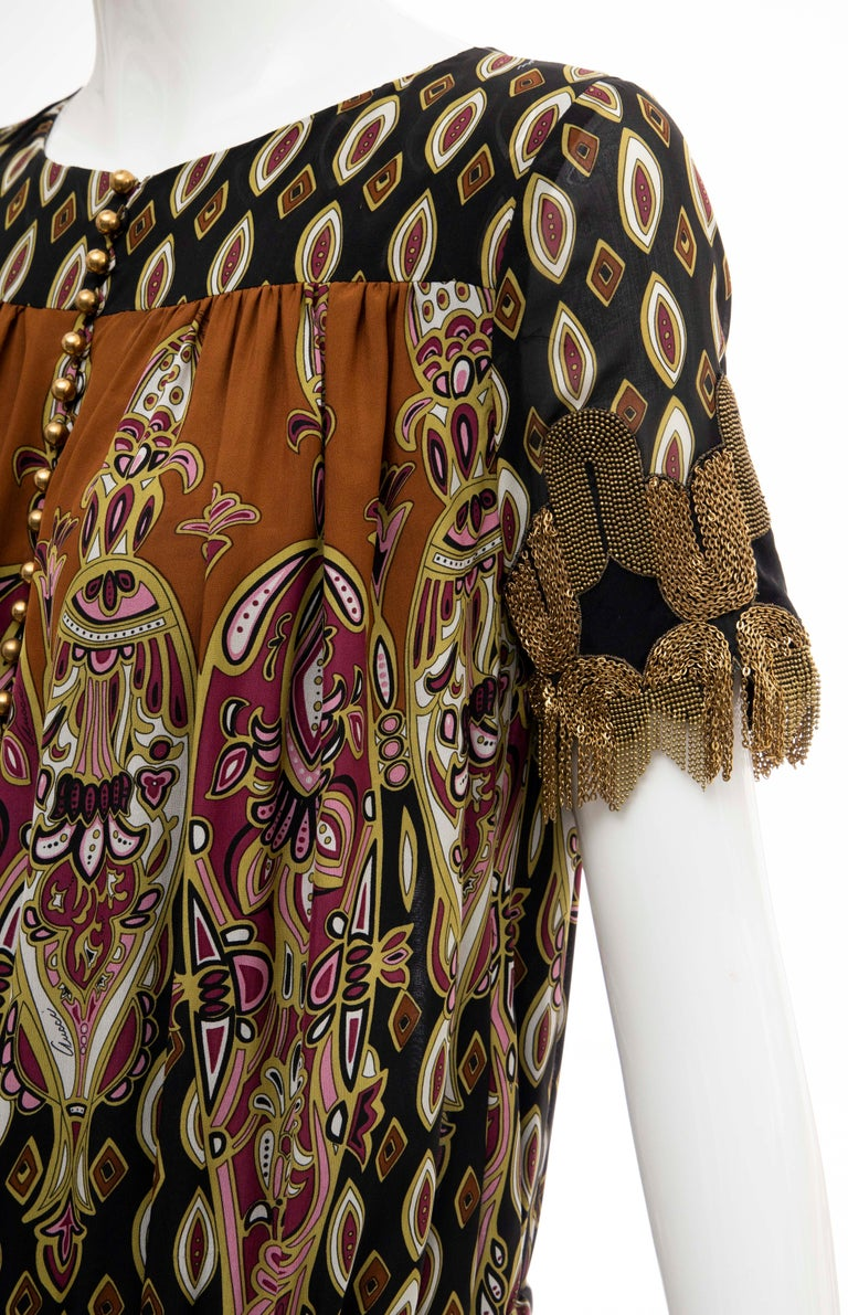 Frida Giannini for Gucci Runway Silk Boteh Pattern Brass Chains Dress, Fall 2008 For Sale 8