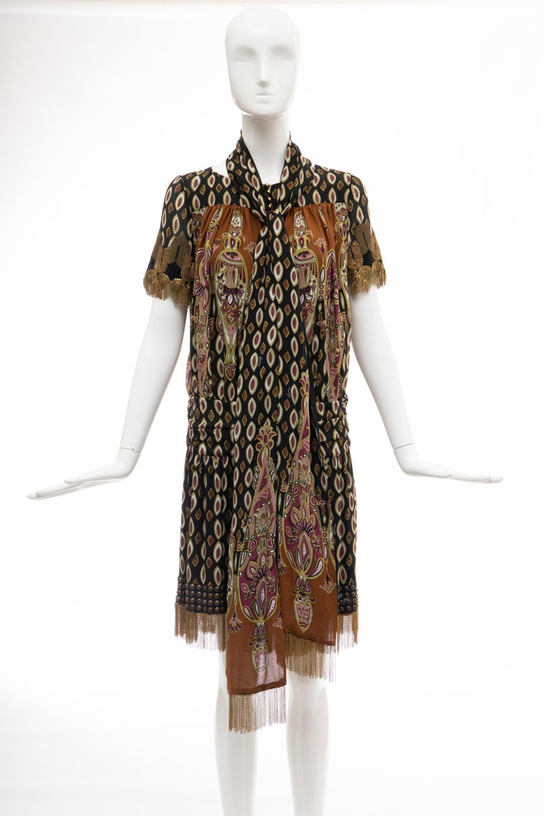 Frida Giannini for Gucci Runway Silk Boteh Pattern Brass Chains Dress, Fall 2008 For Sale 9