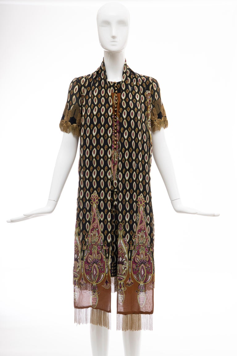 Frida Giannini for Gucci Runway Silk Boteh Pattern Brass Chains Dress, Fall 2008 For Sale 10