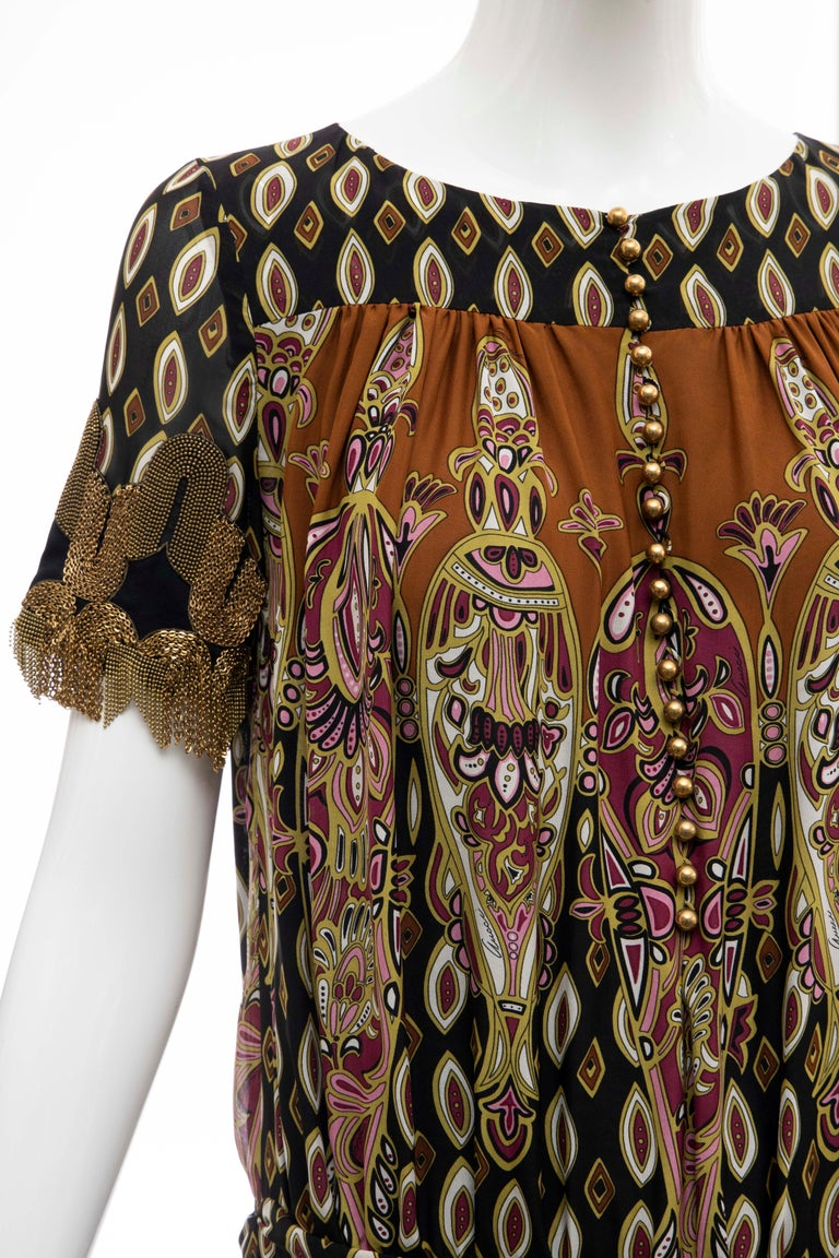 Black Frida Giannini for Gucci Runway Silk Boteh Pattern Brass Chains Dress, Fall 2008 For Sale
