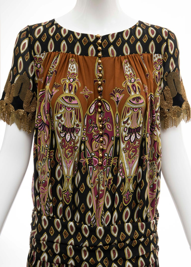 Frida Giannini for Gucci Runway Silk Boteh Pattern Brass Chains Dress, Fall 2008 In Excellent Condition For Sale In Cincinnati, OH