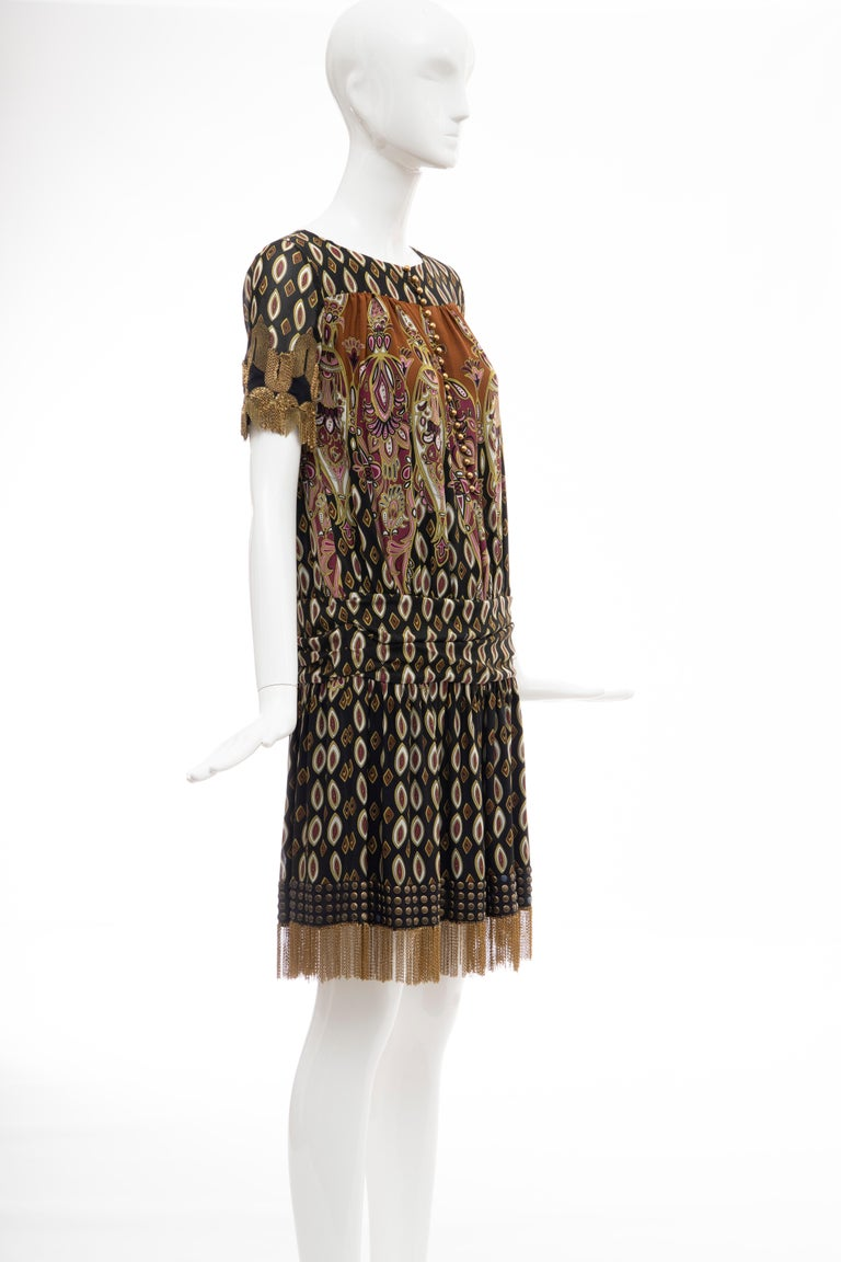 Women's or Men's Frida Giannini for Gucci Runway Silk Boteh Pattern Brass Chains Dress, Fall 2008 For Sale