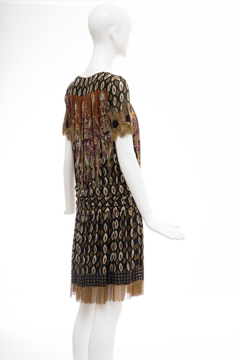 Frida Giannini for Gucci Runway Silk Boteh Pattern Brass Chains Dress, Fall 2008 For Sale 2