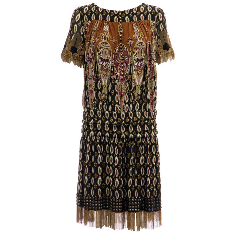 Frida Giannini for Gucci Runway Silk Boteh Pattern Brass Chains Dress, Fall 2008 For Sale