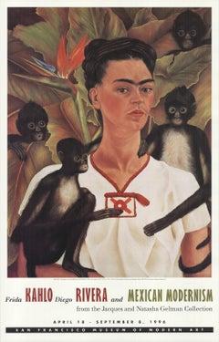 1996 After Frida Kahlo 'Self Portrait with Monkeys' Modernism USA Offset