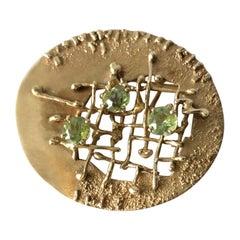 Fridl Blumenthal 14 Karat Yellow Gold Peridot Brooch
