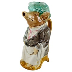 Frie Onnaing French Barbotine Majolica Maitre d'Hotel Pig Water Pitcher