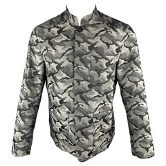 FRIED RICE Size M Grey Camouflage Polyester Patch Pockets Buttoned Jacket