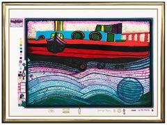 Friedensreich Hundertwasser Color Silkscreen Regentag Waves Of Love Signed Art