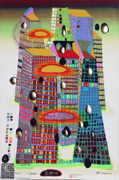 Good Morning City/Bleeding Town, Embossed Silkscreen by Hundertwasser