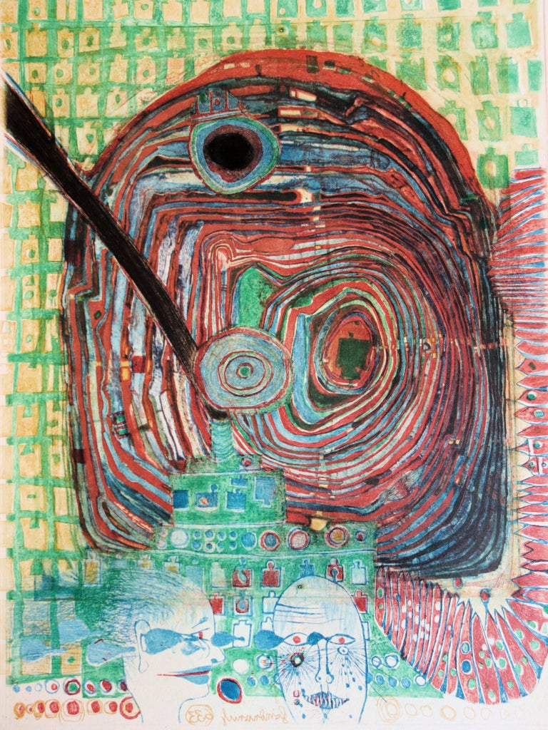 Surrealist Couple - Original color Etching and Aquatint - 1967 - Abstract Print by Friedensreich Hundertwasser