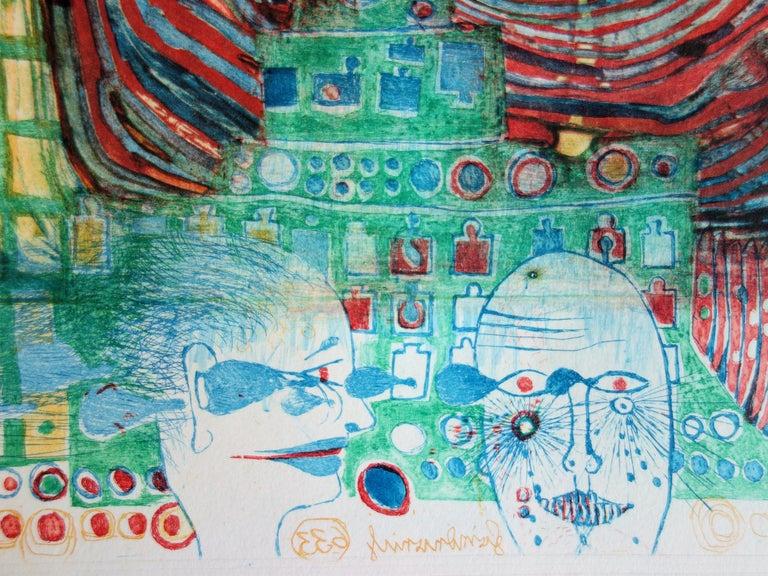 Surrealist Couple - Original color Etching and Aquatint - 1967 1