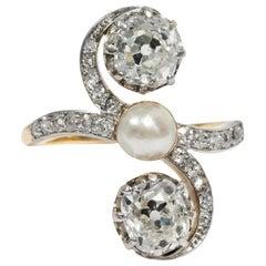 Friedländer circa 1910, Certified 2.03 Carat Diamond Trilogy Engagement Ring
