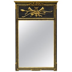 Friedman Brothers French Neoclassical Style Black and Gold Console Wall Mirror