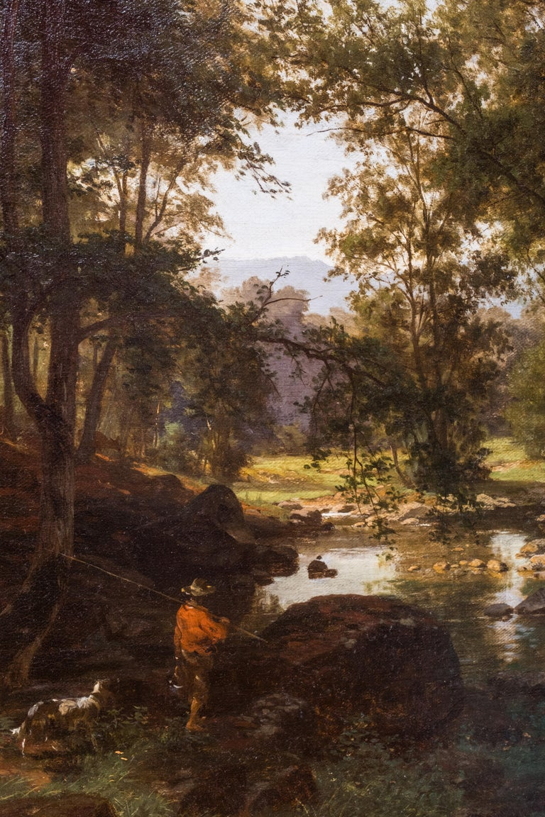 Oiled German Landscape by Friedrich Carl Werner Ebel For Sale