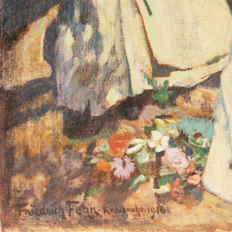 'Nuns Gathering Lilies', Large Munich School Figural, Karlsruhe Catholic Convent - Painting by Friedrich Fehr