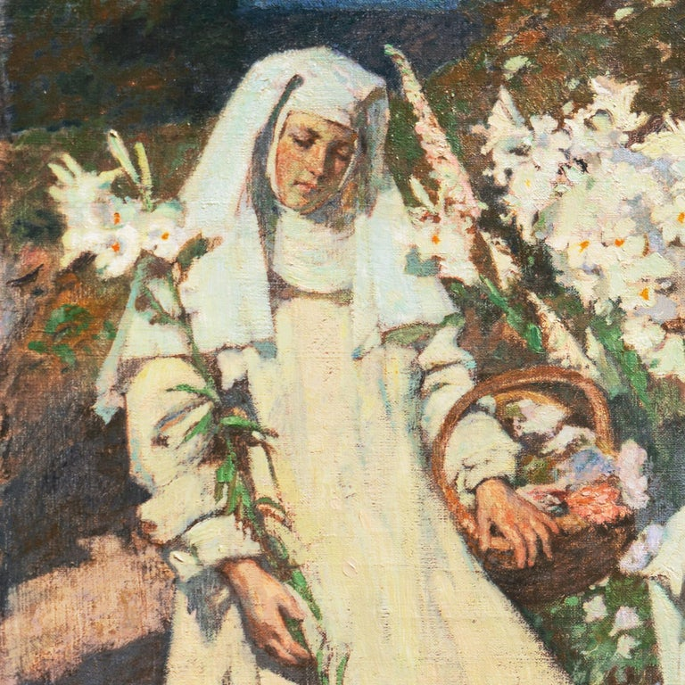 'Nuns Gathering Lilies', Large Munich School Figural, Karlsruhe Catholic Convent - Impressionist Painting by Friedrich Fehr