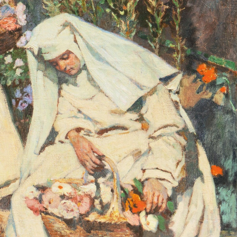 'Nuns Gathering Lilies', Large Munich School Figural, Karlsruhe Catholic Convent - Brown Figurative Painting by Friedrich Fehr