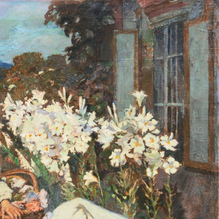 'Nuns Gathering Lilies', Large Munich School Figural, Karlsruhe Catholic Convent For Sale 1