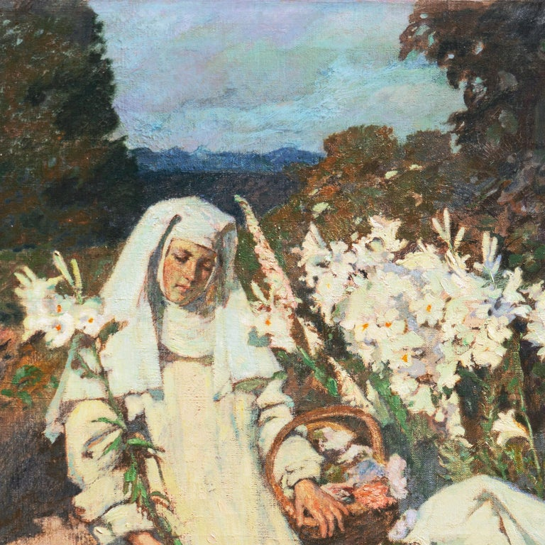 'Nuns Gathering Lilies', Large Munich School Figural, Karlsruhe Catholic Convent For Sale 2