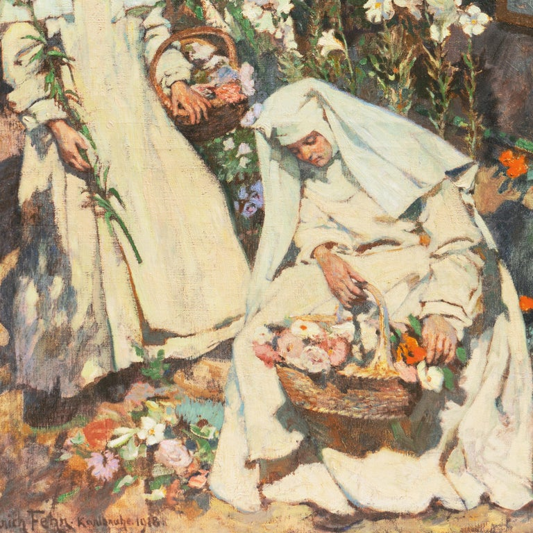 'Nuns Gathering Lilies', Large Munich School Figural, Karlsruhe Catholic Convent For Sale 3
