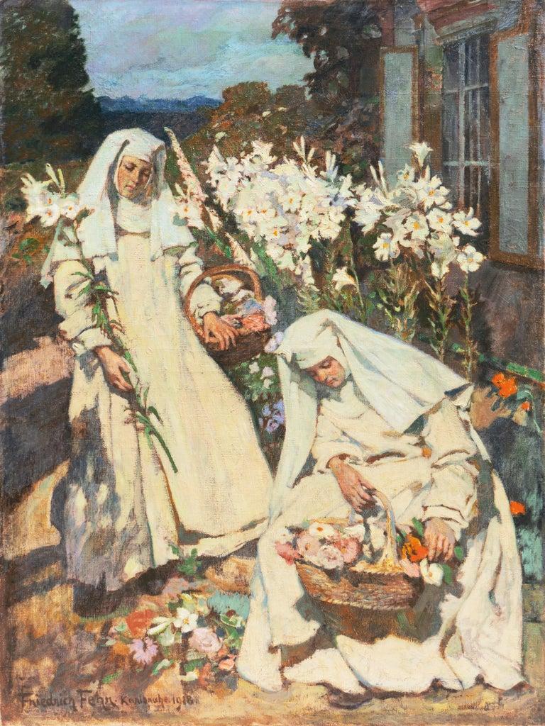 Friedrich Fehr Figurative Painting - 'Nuns Gathering Lilies', Large Munich School Figural, Karlsruhe Catholic Convent