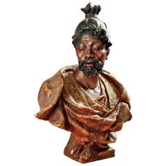 Friedrich Goldscheider '1845-1897', Bust of Moor, Polychrome Terracotta, 1890