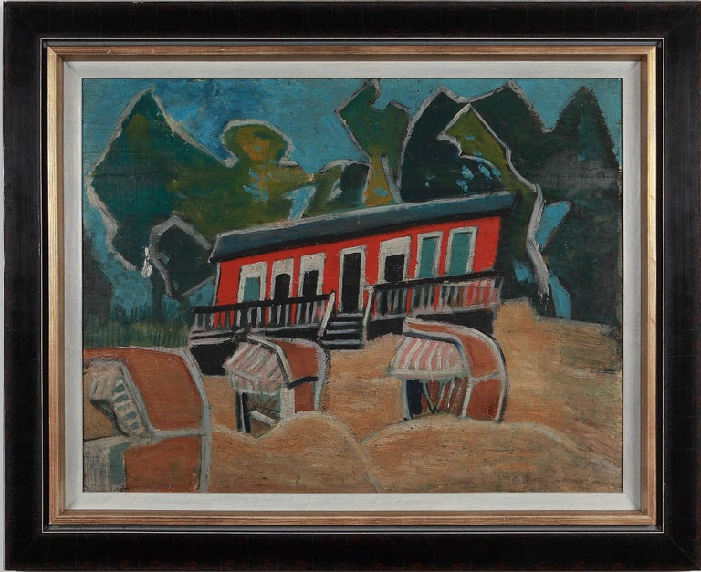 Friedrich Karl Gotsch Oil Painting on Wood ca. 1928, Rotes Haus am Strand For Sale 1
