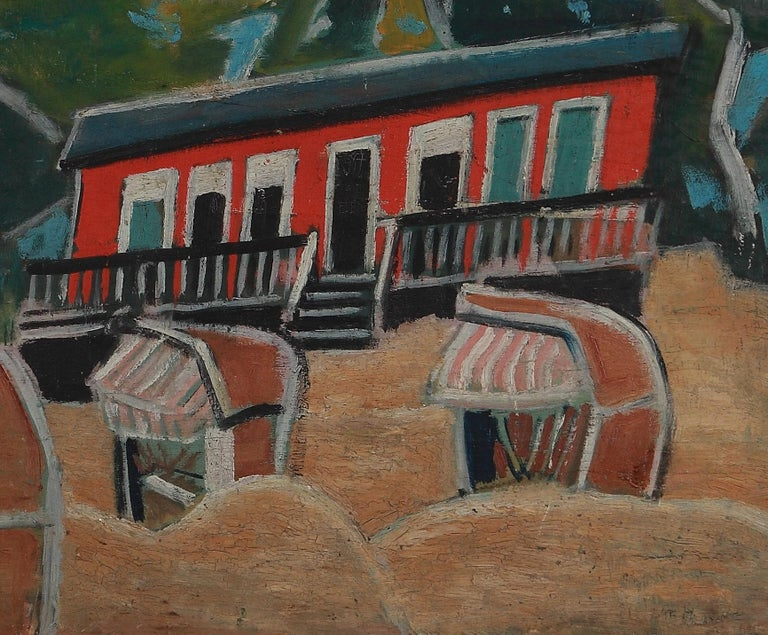 Friedrich Karl Gotsch Oil Painting on Wood ca. 1928, Rotes Haus am Strand For Sale 2