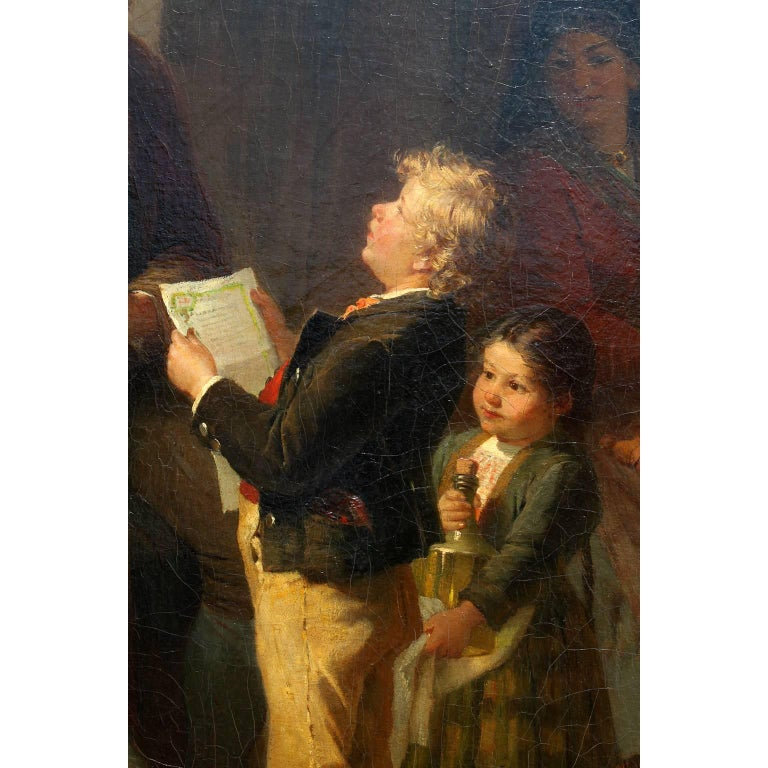Friedrich Ortlieb Oil on Canvas Children Celebrate Christmas For Sale 4