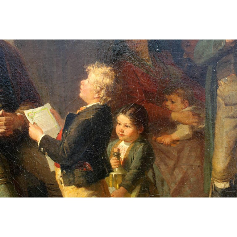 Friedrich Ortlieb Oil on Canvas Children Celebrate Christmas For Sale 5