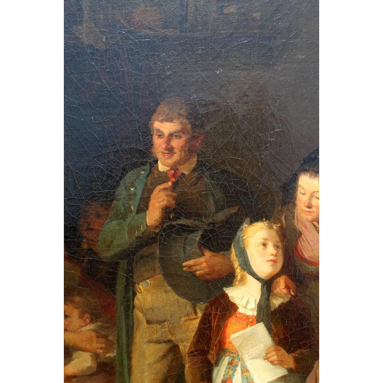 Friedrich Ortlieb Oil on Canvas Children Celebrate Christmas For Sale 7