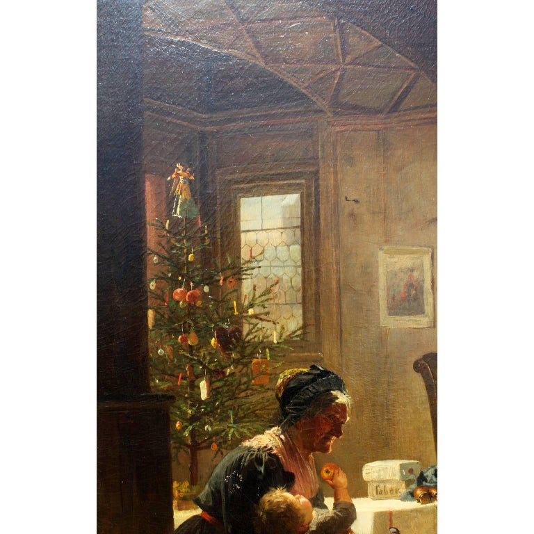 Friedrich Ortlieb Oil on Canvas Children Celebrate Christmas For Sale 9