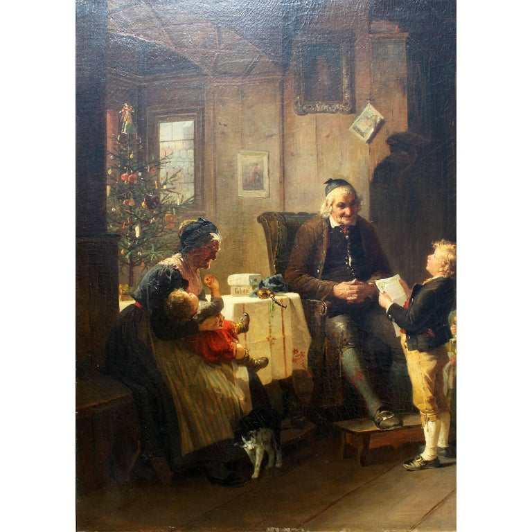 Friedrich Ortlieb (German, 1839-1909) a fine and large oil on canvas titled