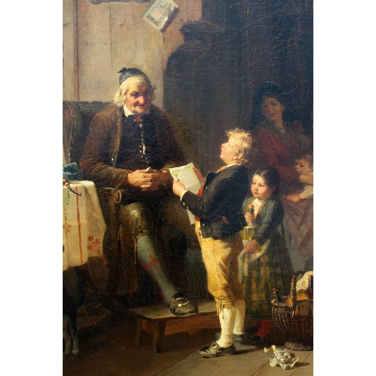 Country Friedrich Ortlieb Oil on Canvas Children Celebrate Christmas For Sale