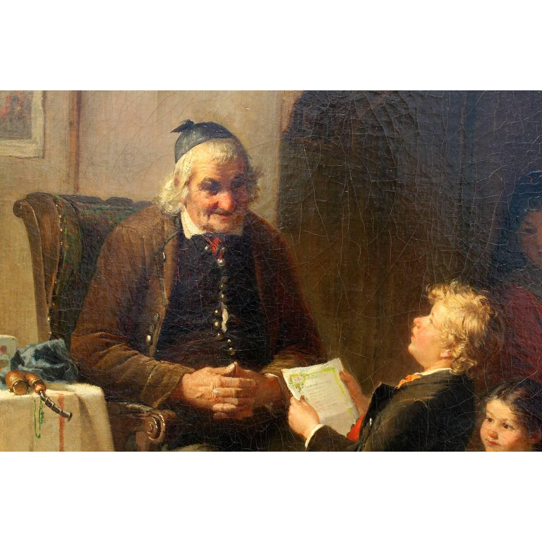 German Friedrich Ortlieb Oil on Canvas Children Celebrate Christmas For Sale