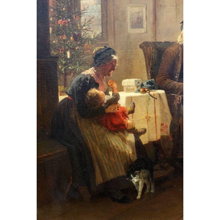 Hand-Painted Friedrich Ortlieb Oil on Canvas Children Celebrate Christmas For Sale