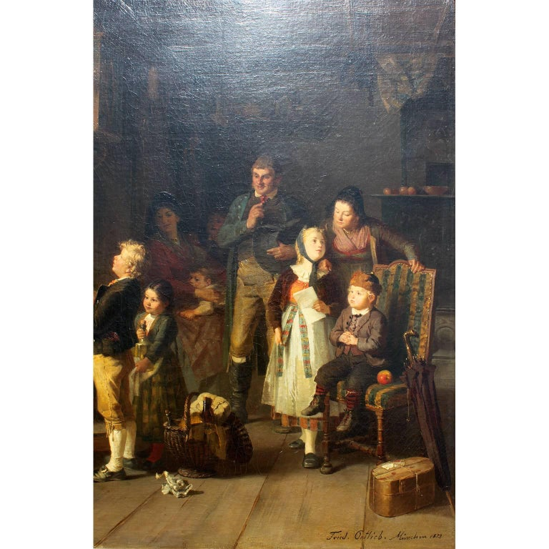 Friedrich Ortlieb Oil on Canvas Children Celebrate Christmas In Excellent Condition For Sale In Los Angeles, CA