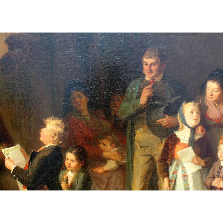19th Century Friedrich Ortlieb Oil on Canvas Children Celebrate Christmas For Sale