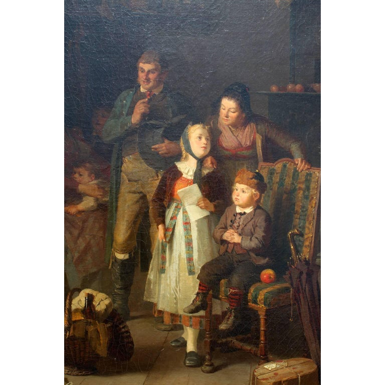 Friedrich Ortlieb Oil on Canvas Children Celebrate Christmas For Sale 1
