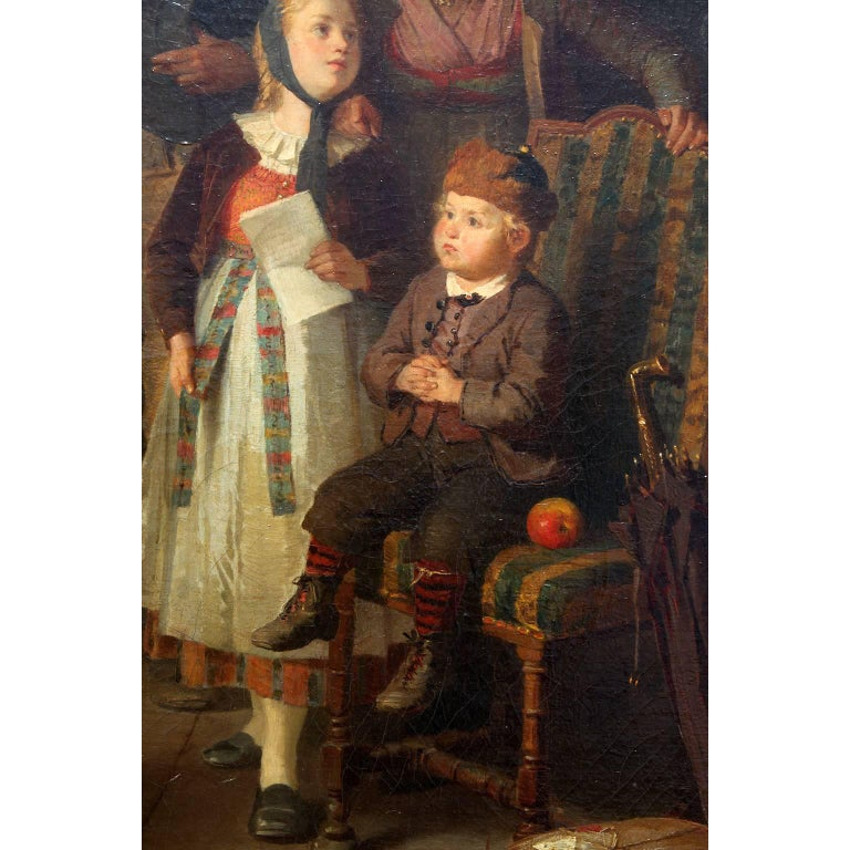 Friedrich Ortlieb Oil on Canvas Children Celebrate Christmas For Sale 2