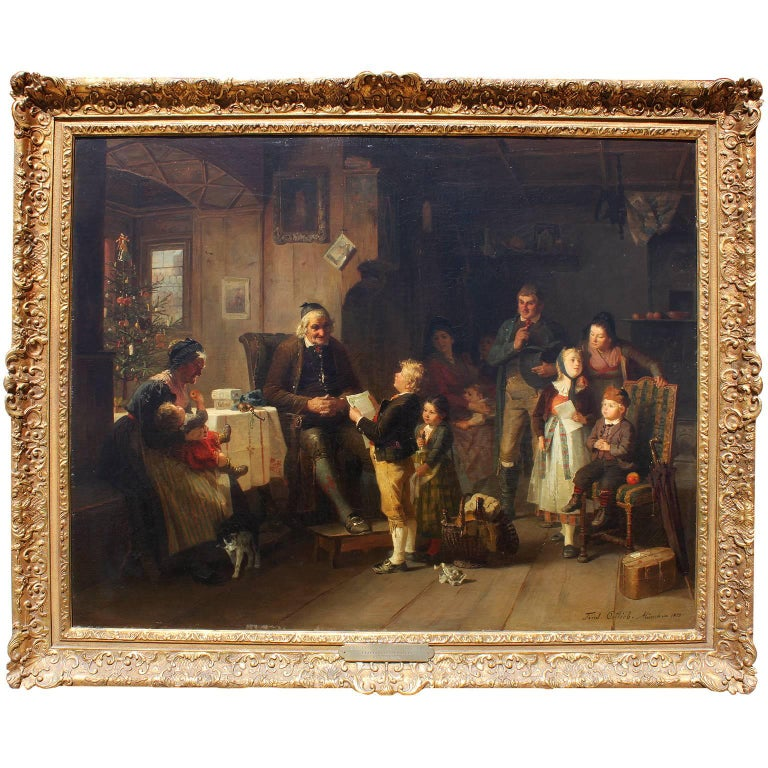 Friedrich Ortlieb Oil on Canvas Children Celebrate Christmas For Sale