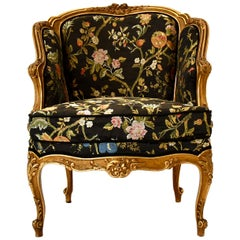 Friedrich Otto Schmidt Austria Armchair Baroque Style Gold Carved Flower, 1880